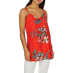 Dorothy Perkins - Red floral longline camisole top