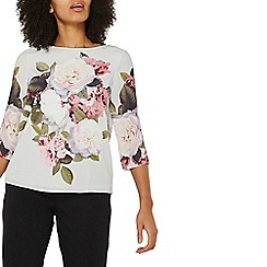 Dorothy Perkins - Grey floral 3/4 sleeves top