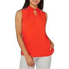 Dorothy Perkins - Red pearl twist neck top