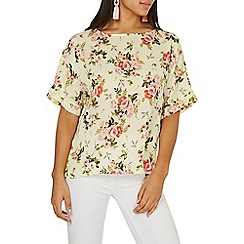 Dorothy Perkins - Lemon floral print slouch woven t-shirt