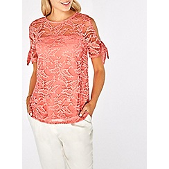 Dorothy Perkins - Coral lace tie sleeve top