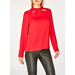 Dorothy Perkins - Red emily cut out long sleeves top