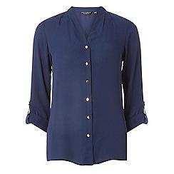 Dorothy Perkins - Navy pleated roll sleeve shirt