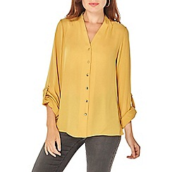 Dorothy Perkins - Ochre pleated roll sleeve shirt