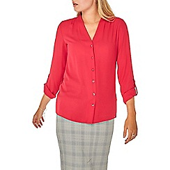 Dorothy Perkins - Raspberry pleated roll sleeve shirt