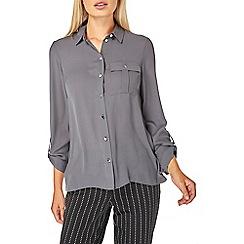 Dorothy Perkins - Grey pocket roll sleeve shirt
