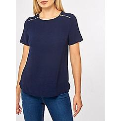 Dorothy Perkins - Navy zip shoulder t-shirt