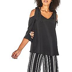Dorothy Perkins - Black 3/4 sleeve cold shoulder top