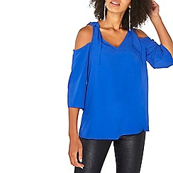 Dorothy Perkins - Cobalt 3/4 cold shoulder top