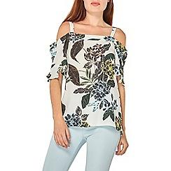 Dorothy Perkins - Ivory tropical print frill detail cold shoulder top
