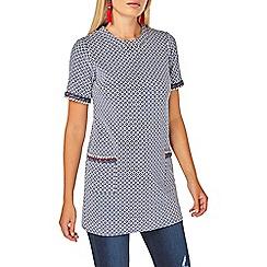 Dorothy Perkins - Navy geometric print trim tunic