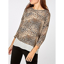 Dorothy Perkins - Multi colour leopard print wrap back 2-in-1 top