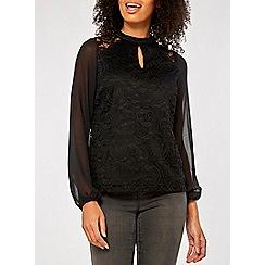 Dorothy Perkins - Black lace chiffon long sleeve top