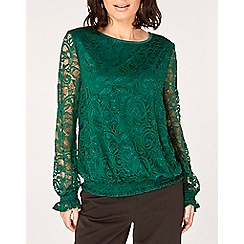 Dorothy Perkins - Green sheered hem long sleeve top