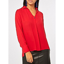 Dorothy Perkins - Red one button collar top