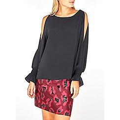Dorothy Perkins - Black embellished trim split sleeve top
