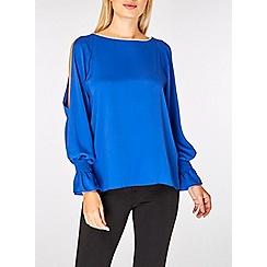 Dorothy Perkins - Cobalt embellished trim split sleeve top