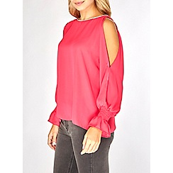 Dorothy Perkins - Pink embellished trim split sleeve top