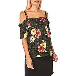 Dorothy Perkins - Green floral cold shoulder top