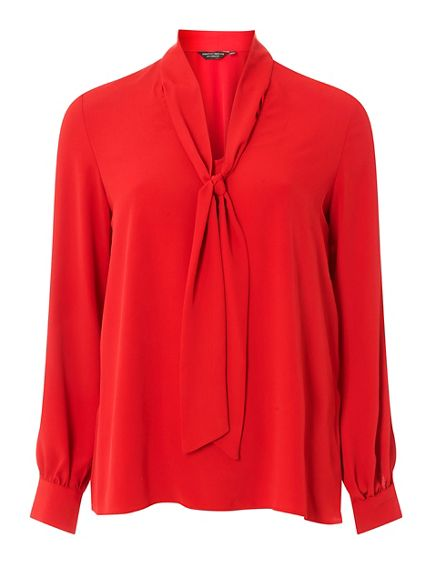 sleeve Dorothy top long Perkins Red pussybow BIq1pI