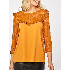 Dorothy Perkins - Ochre lace mix tie back top