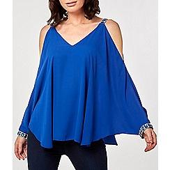 Dorothy Perkins - Cobalt blue embellished trim cold shoulder top