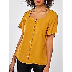 Dorothy Perkins - Ochre button square neck shirt