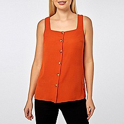 Dorothy Perkins - Rust square neck shell top