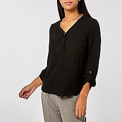 Dorothy Perkins - Black button roll sleeve top