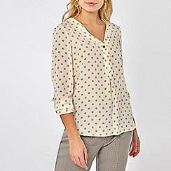 Dorothy Perkins - Ochre spot roll sleeve shirt