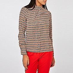 Dorothy Perkins - Camel rosie geometric print long sleeve top