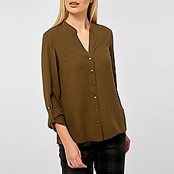 Dorothy Perkins - Khaki Collarless Shirt