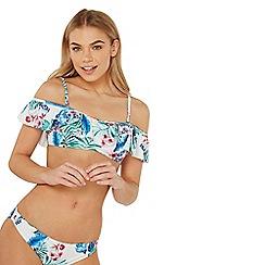 Dorothy Perkins - Ivory tropical print bardot bikini top