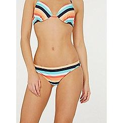 Dorothy Perkins - Coral multi striped bikini bottoms