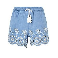 Dorothy Perkins - Chambray embroidered shorts