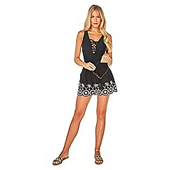 Dorothy Perkins - Beach black embroidered beach shorts