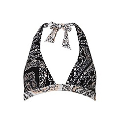 Dorothy Perkins - Beach black paisley mix and match halterneck tie bikini top
