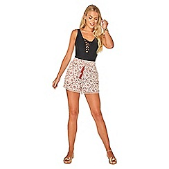 Dorothy Perkins - Beach ivory printed lace trim beach shorts