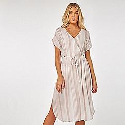 Dorothy Perkins - Beach pink/white striped wrap midi dress