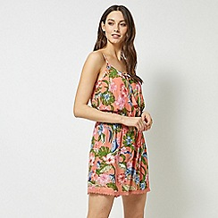 Dorothy Perkins - Dp Beach Coral Floral Print Playsuit