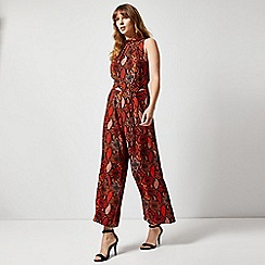Dorothy Perkins - Red Snake Print Roll Neck Jumpsuit