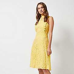 Dorothy Perkins - Yellow Shirred Neck Lace Midi Dress
