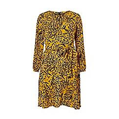 Dorothy Perkins - Yellow Animal Print Long Sleeve Skater Dress