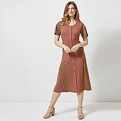 Dorothy Perkins - Red Stirpe Button Midi Dress