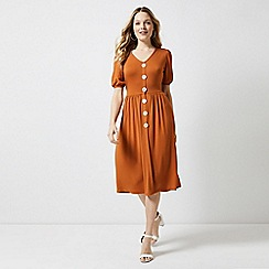 Dorothy Perkins - Rust Mother Pearl Button Midi Skater Dress