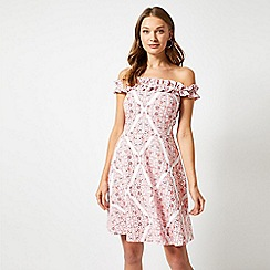 Dorothy Perkins - Pink Ruffle Bardot Scarf Print Dress
