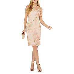 Dorothy Perkins - Apricot floral embroidered pencil dress