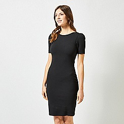 Dorothy Perkins - Black Ruched Sleeves Bodycon Dress