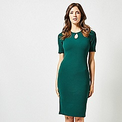 Dorothy Perkins - Green Split Neck Short Sleeves Bodycon Dress