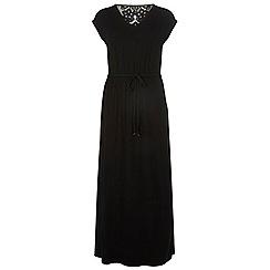 Dorothy Perkins - Black crochet back jersey maxi dress